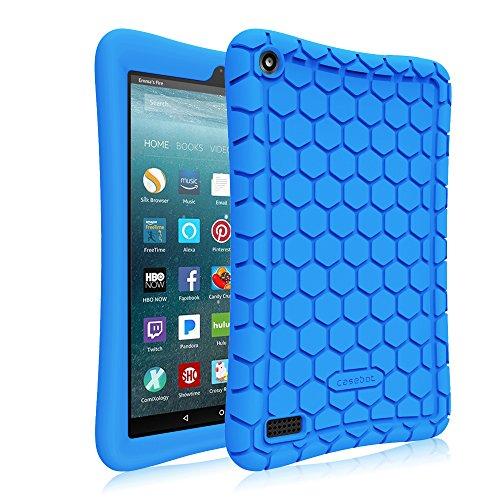 Fintie Silikon Hülle für Amazon Fire 7 Tablet (7-Zoll, 7. Generation, 2017) - Leichte Rutschfeste Stoßfeste Silikon Tasche Case Kinderfreundliche Schutzhülle, Blau