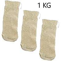 EUROXANTY-Malla Textil de Cocción - Bolsa para Legumbres - 0.5 Kg - 1Kg - 2Kg - Set de 3 (1Kg)