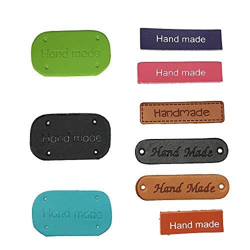 Juland 45PCS PU Label Leder Etiketten PU-Lederetikett Kleidung Hand Made Label Handgemachte geprägte Marke mit Löchern Verzierung Stricken für Jeans Taschen Schuhe Mütze - Mehrere Farben -