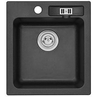 AXIS KITCHEN Granitspüle Malibu 20 Küchenspüle Axigran Einbauspüle Spülbecken Granit 43x47cm Schwarz Siphon