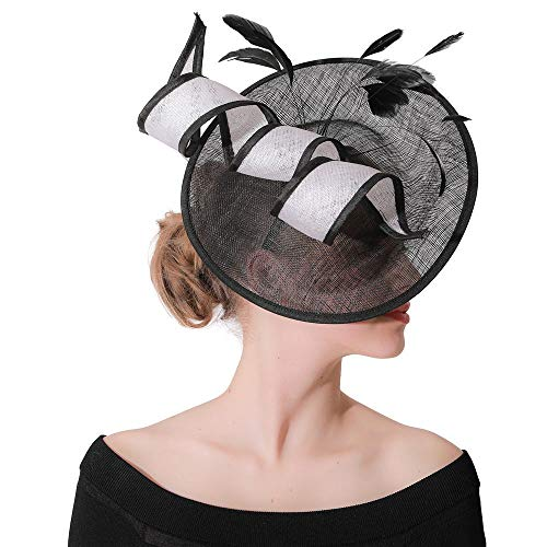 Fascinator-Hut Schwarze Blumen-Maschen-Schleier-Feder-Weinlese-Haar-Klipp-Hüte, die Cocktail-Teeparty Wedding sind Cocktail Tea Party Kopfbedeckungen ( Color : Black , Size : Free size ) (Black Tea-party-hut)