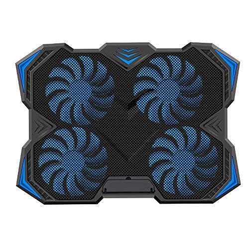 HUIGE Refrigerador del Ordenador portátil, Ultra Slim 12 ' '-17 ' ' Pulgadas portátil de enfriamiento Pad con 4 Ventiladores tranquilos y luz Azul LED, Dual 2 USB 2,0 Puertos