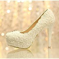 xieshijie-hlx con perline/Pizzo/Ultra tacco alto piattaforma/scarpe/abito da sposa Principessa Shoes, donna, White, 35