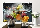 Spritzschutz Glasbild - Erfrischendes Obst - mit abgerundeten Ecken - 80x60 cm mit Klemmbefestigungen - SP21243 - Wall-Art