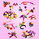 SLYTEK Bead Kit - Pop Beads Snap-Together Fashion Kit Fun For Kid Necklace And Bracelet Craft 180 Pieces Jewellery Making Kit - Art And Craft Making Diy Kit Gift, Birthday Gift, Toy Gift For Girls