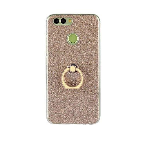 EKINHUI Case Cover Soft Flexible TPU Back Cover Case Shockproof Schützende Shell mit Bling Glitter Sparkles und Kickstand für Huawei Nova 2 ( Color : White ) Gold