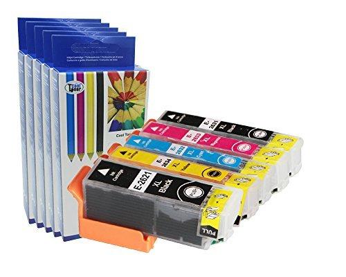 Preisvergleich Produktbild 5 XL kompatibel Druckerpatronen für 26XL (T2621 T2631 T2632 T2633 T2634) hoher Kapazität für Epson XP-600 605 610 615 700 710 800 810, Epson T2636 mit CHIP