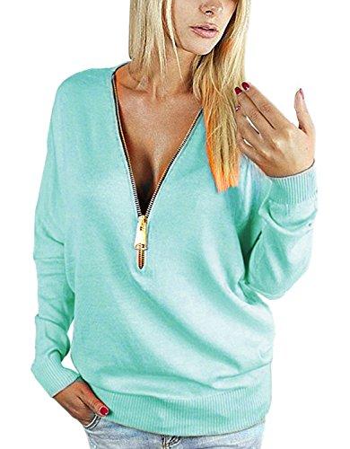 Yidarton Damen Langarmshirt Elegant Sweatshirt Bluse mit Reißverschluss V-Ausschnitt Pullover Oberteil (XXL, Blau) (V-pullover De)