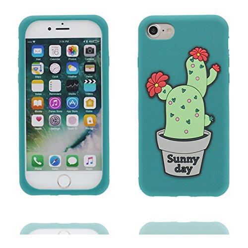 """Coque iPhone 7 Cover Cartoon 3D cactus fleur, TPU Flexible Durable Shock Dust Resistant iPhone 7 Étui iPhone 7 Case 4.7"""" # 1"""