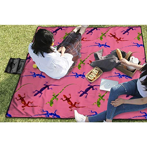 BigHappyShop Picnic Blanket Colorful Spotted Lizards On Pink Waterproof Extra Large Outdoor Mat Camping Or Travel Easy Carry Compact Tote Bag 59