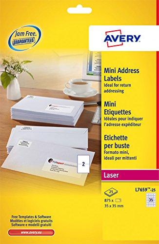 Avery 875 Mini Etiquettes Autocollantes (35 par Feuille) - 35x35mm - Impression Laser - Blanc (L7659)