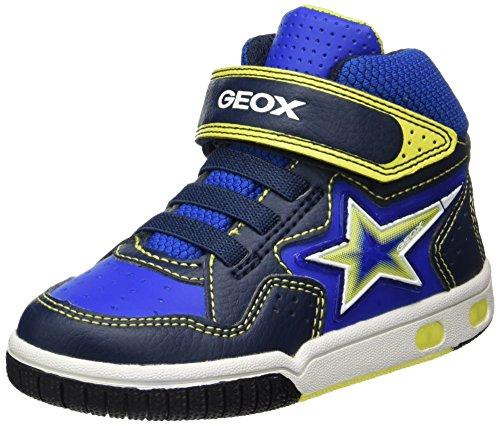 Geox Jungen Jr Gregg A Hohe Sneaker, Blau (Navy/Lime), 31 EU (Kinder Geox Turnschuhe)