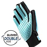 FRETOD Pet Brush Gloves - مزيل الشعر ذو الوجهين على قفاز كلب القط - فرش تدليك الاستحمام - أداة الفرو لفترة طويلة وقصيرة