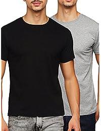 Gritstones Black/Grey Melange Round Neck T-Shirt Combo GSCMBRNCKHS01BLKGMEL