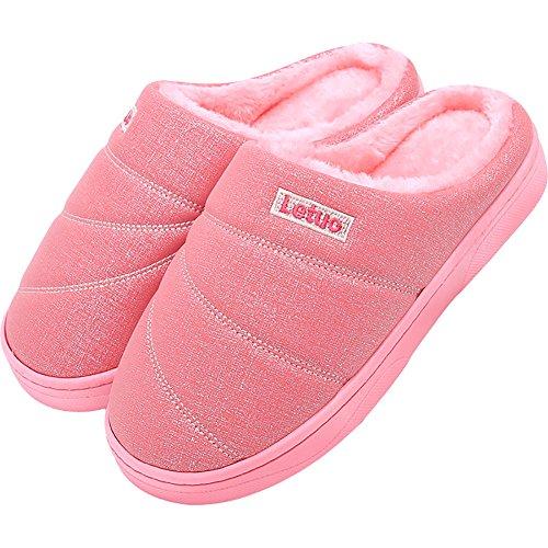 Icegrey Unisex Hiver Peluche Chaussons Pantoufles avec Doublure Intérieure Douce Antidérapants Maison Slippers Pour Hommes et Femmes Rose
