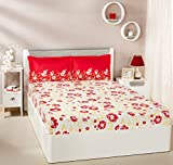 #7: Solimo Jasmine Zest 144 TC 100% Cotton Double Bedsheet with 2 Pillow Covers, Red