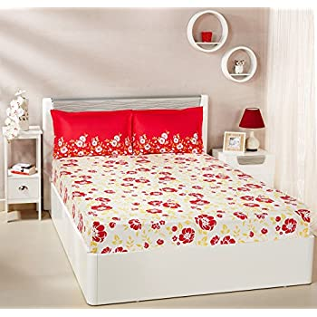 Amazon Brand - Solimo Jasmine Zest 144 TC 100% Cotton Double Bedsheet with 2 Pillow Covers, Red