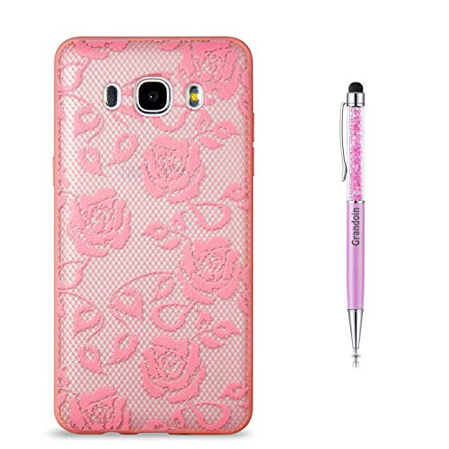 Grandoin Galaxy J5 2016 Hülle,J510 Hülle, 2 in 1 Ultra Dünne Schale Luxus Ultra Dünn Weich TPU Bumper Case Silikon Schutzhülle für Samsung Galaxy J5 2016 / J510 (Pinke Rose)