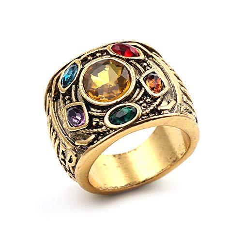 Punk Kostüm Kraft - YMCHE Thanos Ringe, Infinity War Thanos Golden Gauntlet Metallring Kostümzubehör Ring Thanos Ring Cosplay Kostüm Prop