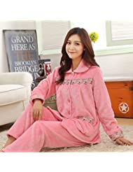 &zhou pijamas mujer ocio Rebeca mantenga cálido pijama grueso hogar ropa de invierno , color , l