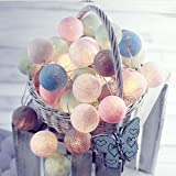 GXQS Cotton Ball Fairy String Lights,3M 20 LED Battery Operated String Lights for Christmas & Wedding Party Decorations, Home Kid's Room Bedroom Patio Garlands Decor