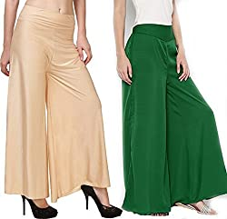 Rooliums Womens Trendy and Stylish Palazzo Pack of 2 (Beige,Green, Free Size)