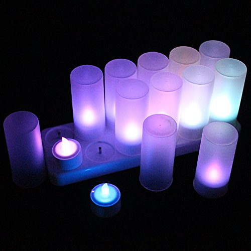 EuroFone LED Tea Light Candles Rechargeable Electric Tealights Flickering With Remote Control (7colors, 12pcs, No Batteries Necessary)
