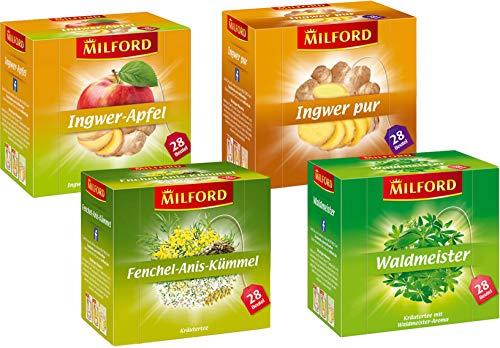 Milford Kräutertee Set | 4 verschiedene Sorten | Ingwer-Apfel | Ingwer Pur | Waldmeister | Fenchel-Anis-Kümmel | Tee | Aufgussbeutel
