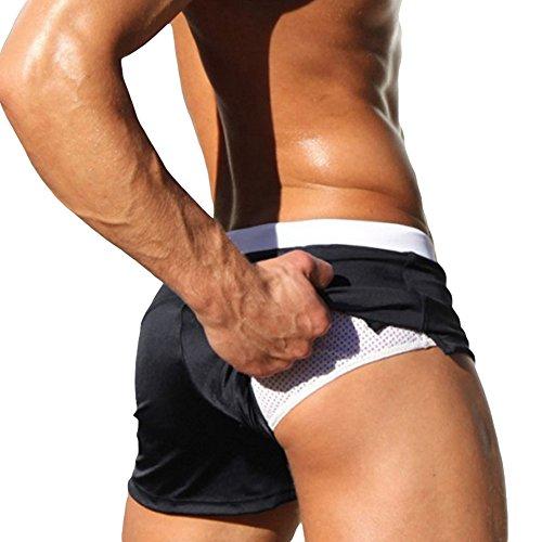 Badehose Herren Schwimmhose Niedrige Taille Hose mit Reißverschluss Taschen Schwarz