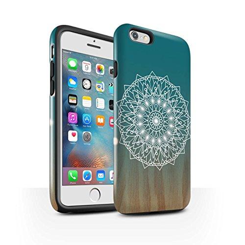 STUFF4 Glanz Harten Stoßfest Hülle / Case für Apple iPhone 8 Plus / Rote Punkte Muster / Ombre Muster Kollektion Mandala/Holz