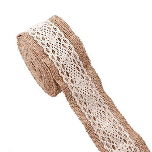 weddecor Hessisches Spitze mit weißen Netz Dekor Band für Hochzeit, Tisch, Matte, Schleifen, Handwerk, Stühle Schärpe, Platzdeckchen in 2.5cm, 3cm, 3.5cm, 5cm, 6cm and 10cm Breite - Design 3, 5 Meter (Weiße Spitze-land-hochzeits-kleid)