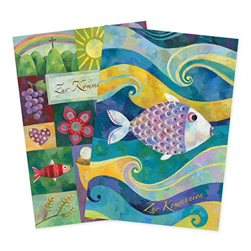 2er Set Glückwunschkarten zur Kommunion, Glückwunsch, Danksagung, Kommunion, Klappkarten, edel, christlich, klein, lila, blau, gold