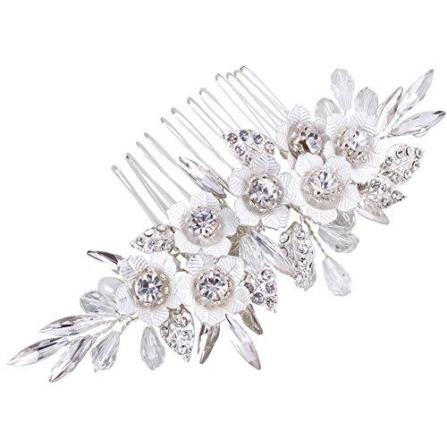 FAYBOX BRIDAL Vintage Braut Haarkämme Kristall Strass Perlen Blume Siber Dias Hochzeit Haarschmuck für Frauen Mädchen