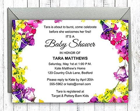Darling Souvenir Kundenspezifische Blumen gedruckte Babyparty-Einladungen Junge / Mädchen 10 Personalisierte Einladungen mit Umschlägen 5 x 7