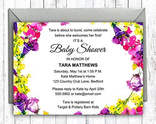 Darling Souvenir Kundenspezifische Blumen gedruckte Babyparty-Einladungen Junge/Mädchen 10 Personalisierte Einladungen mit Umschlägen 5 x 7