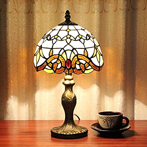 8-Inch Vintage Pastoral Stained Glass Tiffany Baroque Table Lamp Bedroom Lamp Bedside Lamp