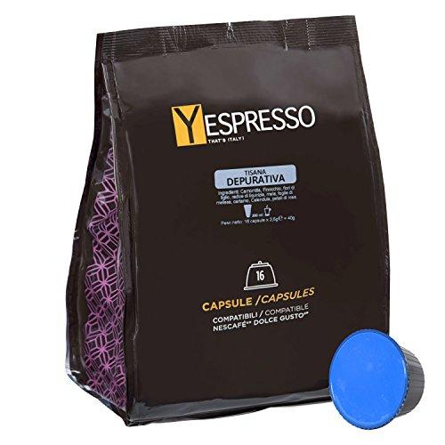 Yespresso Capsule Tisana Depurativa Compatibili per Nescafe Dolce Gusto - Confezione da 32 Pezzi