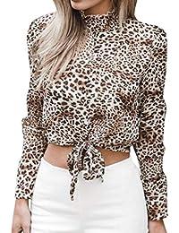 1eced4111781db 2018 Ladies Fashion Estate Autunno Ragazza Donna Flare Fiori Camicia  Chiffon Corta Arco Stampa Leopardata Top