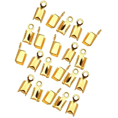 HOMYL Women Favour 200 Pcs DIY Chain End Caps Crimp Cord Jewelry Tools Making - Antique Gold, 4.5x12mm
