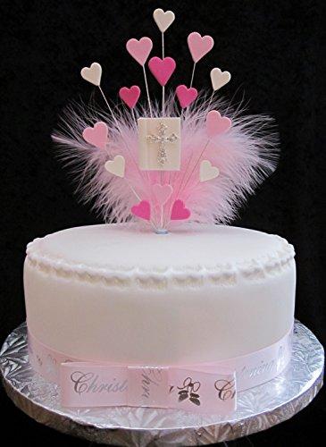 Bible avec cœurs et plumes Décoration pour gâteau Idéal pour un gâteau de 20 cm – Rose satiné Plus X 1 x 22 mm Ruban pour baptême avec nœud