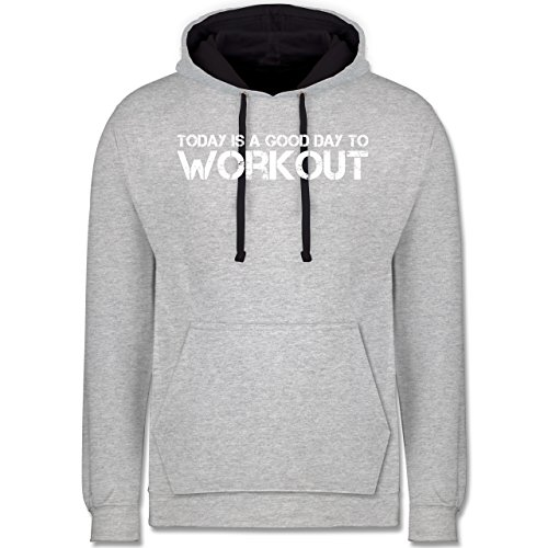 CrossFit   Workout - Today is a good day to workout - Kontrast Hoodie Grau  meliert 24f29fe016