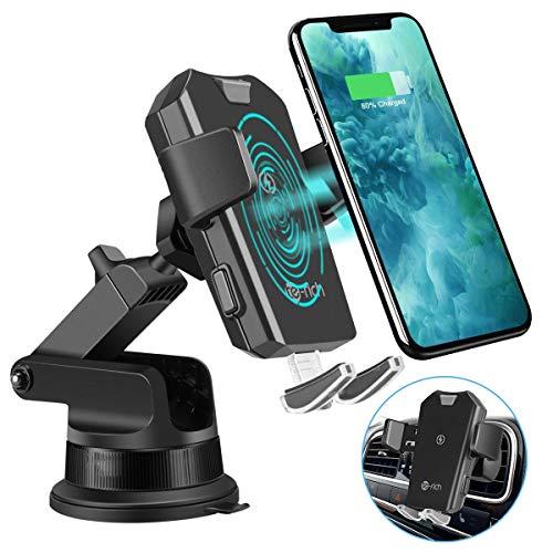Te-Rich Caricatore Wireless Auto,Ricarica Rapida Caricabatterie Qi Wireless Auto,Supporta Auto da 10W per Samsung S10/S10e/S10 +/S9/S8/S8+,Nota 8,7.5 W per iPhone XS/XS Max/XR/X/8/8 Plus
