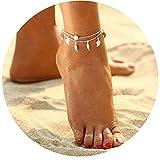 Simsly Fußkettchen mit Blatt-Quasten, Boho-Schmuck für Frauen und Mädchen (20g)