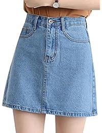 Damen Hohe Taille Jeans Rock Elastische Enges Beiläufig Denim Kurz A-Linie  Rock 1282468579