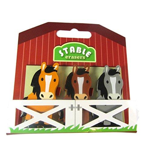 4 Sets x Pferde-Radiergummis in stabiler Designverpackung. Ideal als Partytütenfüller für Mädchen