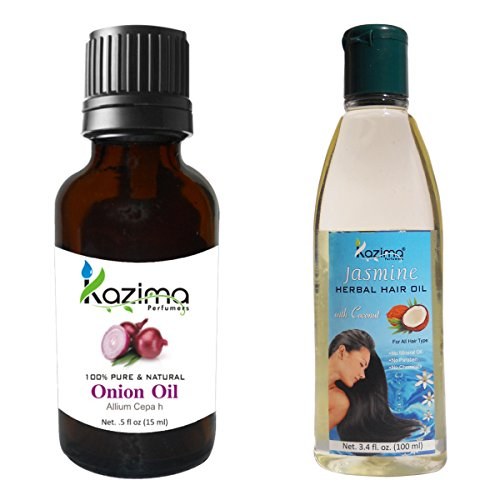 KAZIMA Combo of Onion Oil 15ML and Jasmine Herbal Hair Oil 100ML Anti Hair Fall Control & Maintains Healthy Scalp & Promote Hair Growth