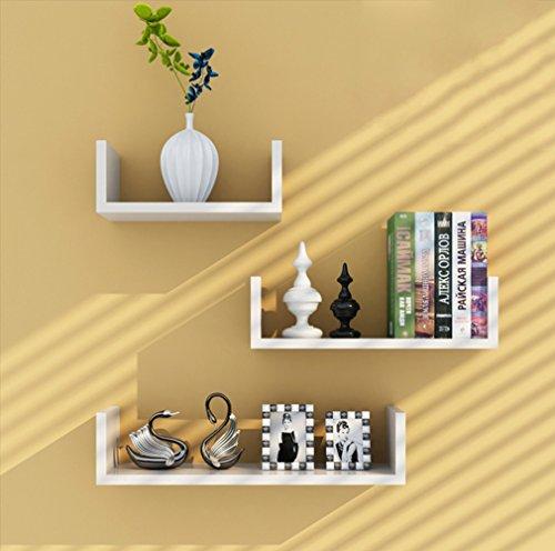 Tanburo mensole da muro set da 3 mensole da parete scaffale libreria/cd/dvd/libro/mensole 3 pezzi diametro diverso-bianco