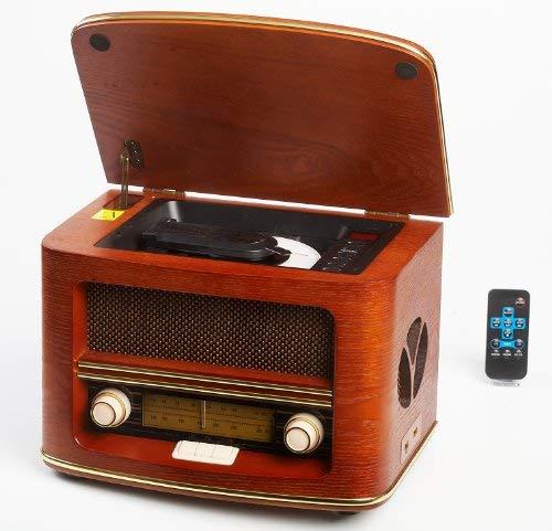 Camry Chaine hi-fi rétro en bois avec lecteur CD MP3 USB et fonction enregistrement