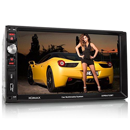 """XOMAX XM-2VRSU723BT Autoradio / Moniceiver mit Bluetooth Freisprecheinrichtung & Musikwiedergabe + 7\"""" Zoll / 18 cm Touchscreen Monitor/Display/Bildschirm + USB Anschluss & Micro SD/SDHC Slot (jeweils bis zu 32 GB!) für MP3, WMA, AVI, etc. + AUX IN Anschluss + Anschlüsse für Rückfahrkamera, Lenkradfernbedienung & Subwoofer + Doppel DIN (2 DIN) Standard Einbaugröße + inkl. Einbaurahmen, Blende & Fernbedienung"""