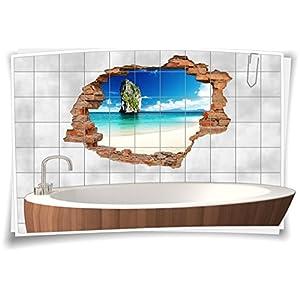Fliesenaufkleber Fliesenbild Fliesenaufkleber Wanddurchbruch Strand Meer Bad, 75x50cm, 20x25cm (BxH)